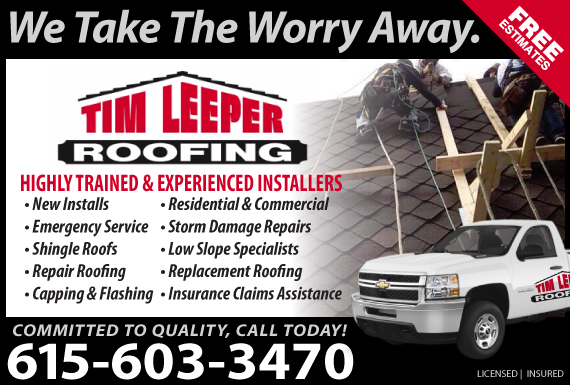 Exclusive Ad: Tim Leeper Roofing Old Hickory 6155532782 Logo