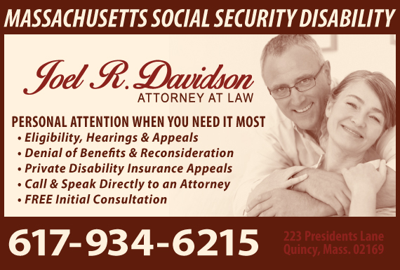 Exclusive Ad: Joel R. Davidson, Attorney at Law Quincy 6173199615 Logo