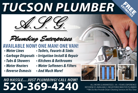 Exclusive Ad: A.S.G. Plumbing Tucson Plumber Tucson 5203512787 Logo