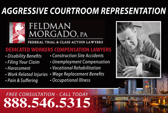 Exclusive Ad: Feldman Morgado, PA - Workers Comp. Tampa 8887796921 Logo