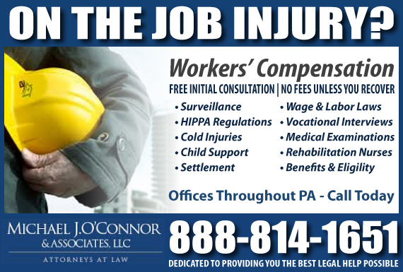 Exclusive Ad: Michael J O'Connor & Associates - Workers Comp Frackville 8005184529 Logo