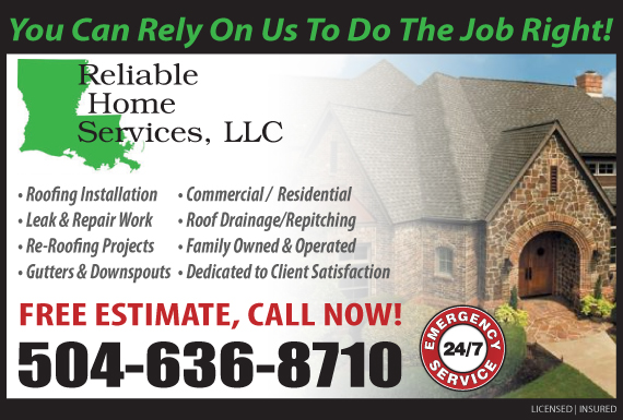 Exclusive Ad: Reliable Home Services LLC New Orleans 5047377220 Logo