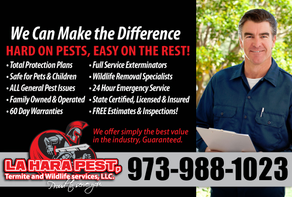 Exclusive Ad: LaHara Pest,Termite and Wildlife Services, LLC.-NJ Clifton 9732912190 Logo