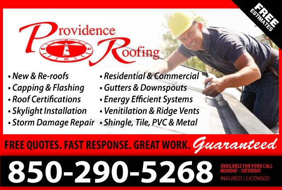 Exclusive Ad: Providence Roofing Inc. Niceville 8506225555 Logo