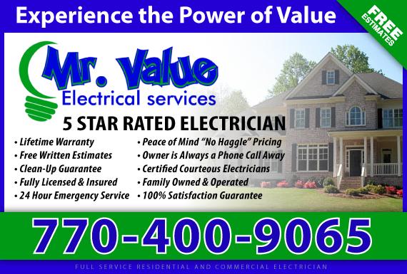 Exclusive Ad: Mr. Value Electricians  Cumming 7708941566 Logo