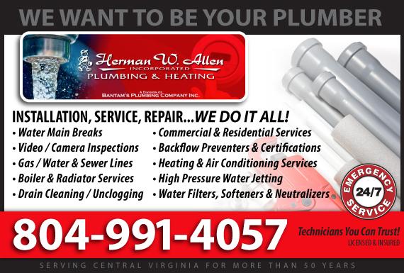 Exclusive Ad: Herman W. Allen Plumbing & Heating, Inc. Mechanicsville  Logo