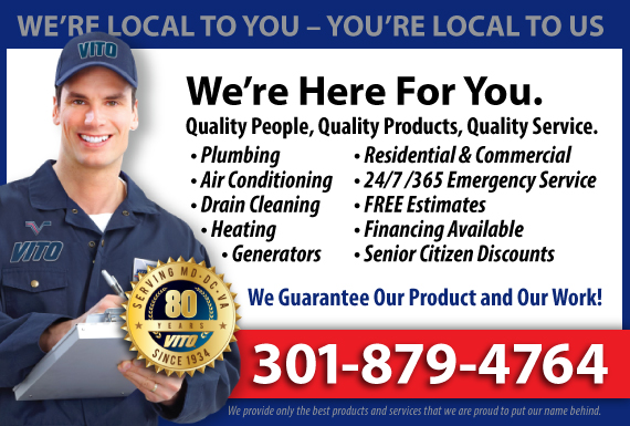 Exclusive Ad: Vito Plumbing Heating And Air Conditioning Rockville 3012510211 Logo