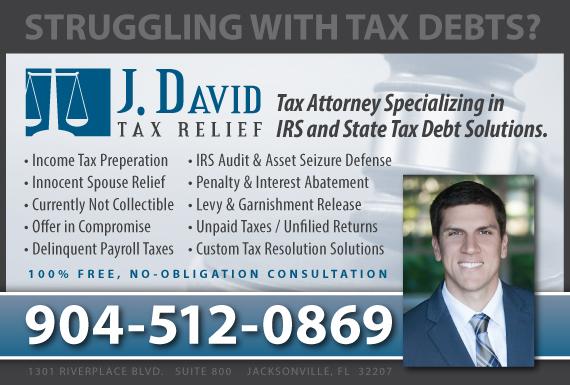 Exclusive Ad: J. David Tax Relief Jacksonville 9046551139 Logo