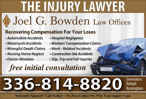 Exclusive Ad: Joel G. Bowden Law Office Greensboro 3362742951 Logo