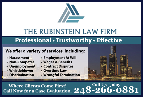 Exclusive Ad: Rubinstein Law Firm-Emp Bingham Farms 2482201415 Logo
