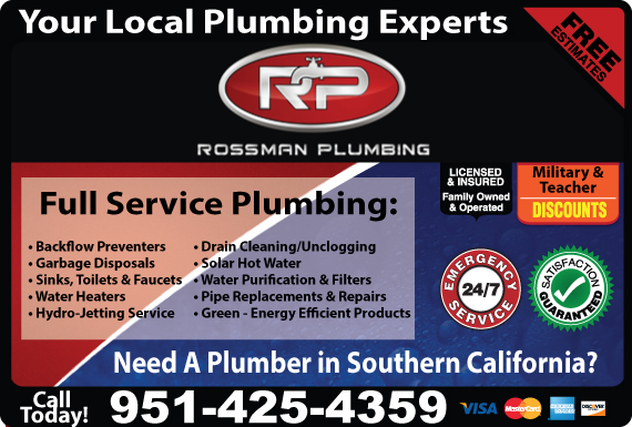 Exclusive Ad: Rossman Plumbing Mira Loma 9512782690 Logo