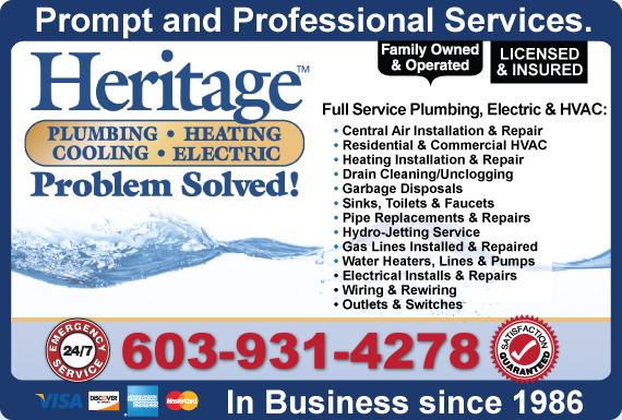 Exclusive Ad: Heritage Plumbing, Heating, Cooling, Electric Auburn 6036696493 Logo