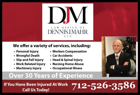Exclusive Ad: Dennis J. Mahr, Attorney at Law Sioux City 8006210743 Logo