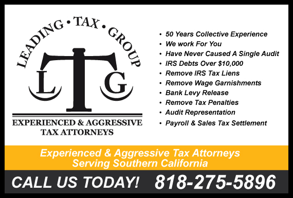 Exclusive Ad: Leading Tax Group Encino 8184059990 Logo
