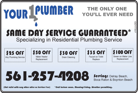 Exclusive Ad: Your 1 Plumber, LLC - FL Delray Beach 5613305107 Logo
