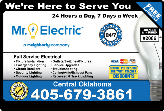 Exclusive Ad: Mr. Electric of Central Oklahoma Norman 4052881499 Logo