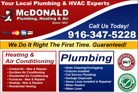 Exclusive Ad: McDonald Plumbing, Heating & Air Fair Oaks 9164564738 Logo