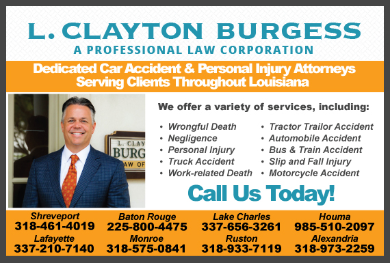 Exclusive Ad: The Law Offices of L. Clayton Burgess Shreveport 8772347573 Logo