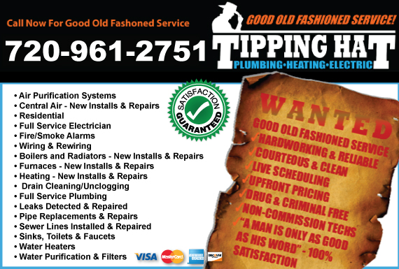 Exclusive Ad: Tipping Hat Plumbing, Heating & Electric Lakewood 3032423009 Logo