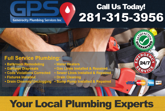 Exclusive Ad: Generocity Plumbing Services Inc. Friendswood 2819924477 Logo