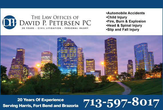 Exclusive Ad: The Law Offices of David P. Petersen, P.C. Houston 7137798500 Logo