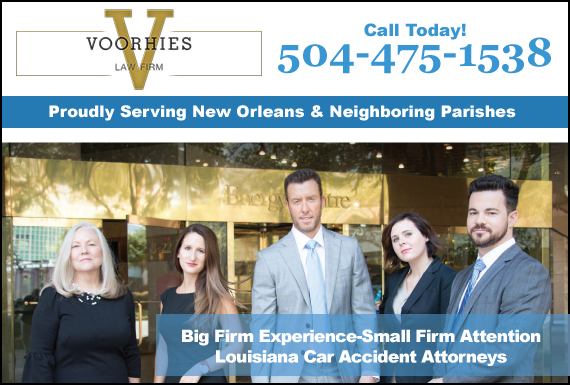 Exclusive Ad: The Voorhies Law Firm New Orleans 5047566948 Logo