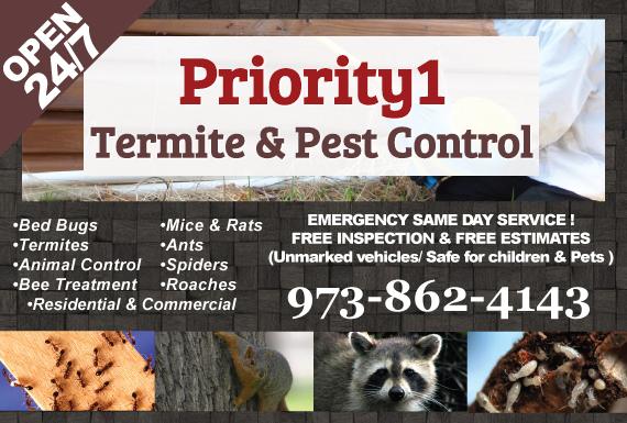 Exclusive Ad: Priority 1 Termite & Pest Control Livingston 9734321022 Logo
