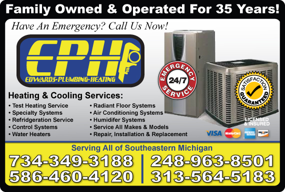 Exclusive Ad: Edwards Plumbing & Heating Inc. Livonia 2487218656 Logo
